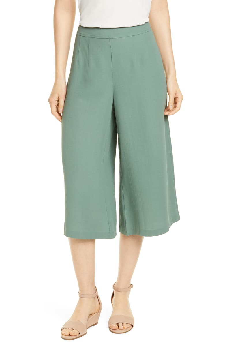 Eileen Fisher Women's Fluid Silk Crepe Crop Wide Leg Pants Culottes, Nori - Luxe Fashion Finds