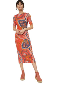 Anthropologie Women's Farm Rio Floral Stretch Knit Midi Body Con Dress, 1X