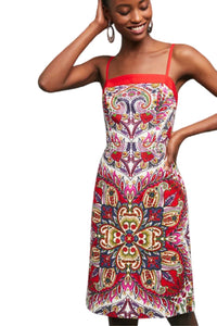 Anthropologie Women's Paisley-Print Strappy Cotton Shift Red White Dress – 10 - Luxe Fashion Finds