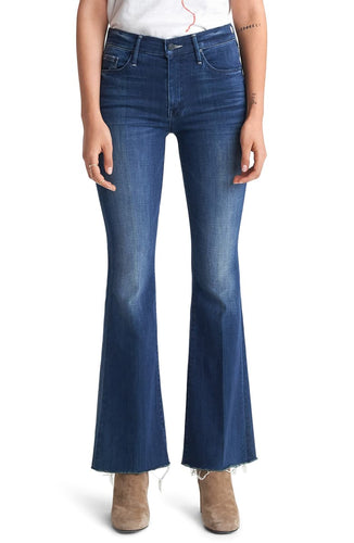 Mother Women's Weekender Fray Mid-Rise Bootcut Flare Jeans, Road To Paradise 28