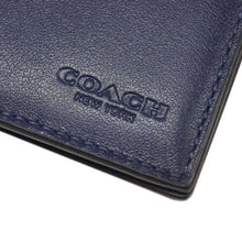 Load image into Gallery viewer, Coach Men's Passport Slim Blue Leather Case Travel Wallet, #38080