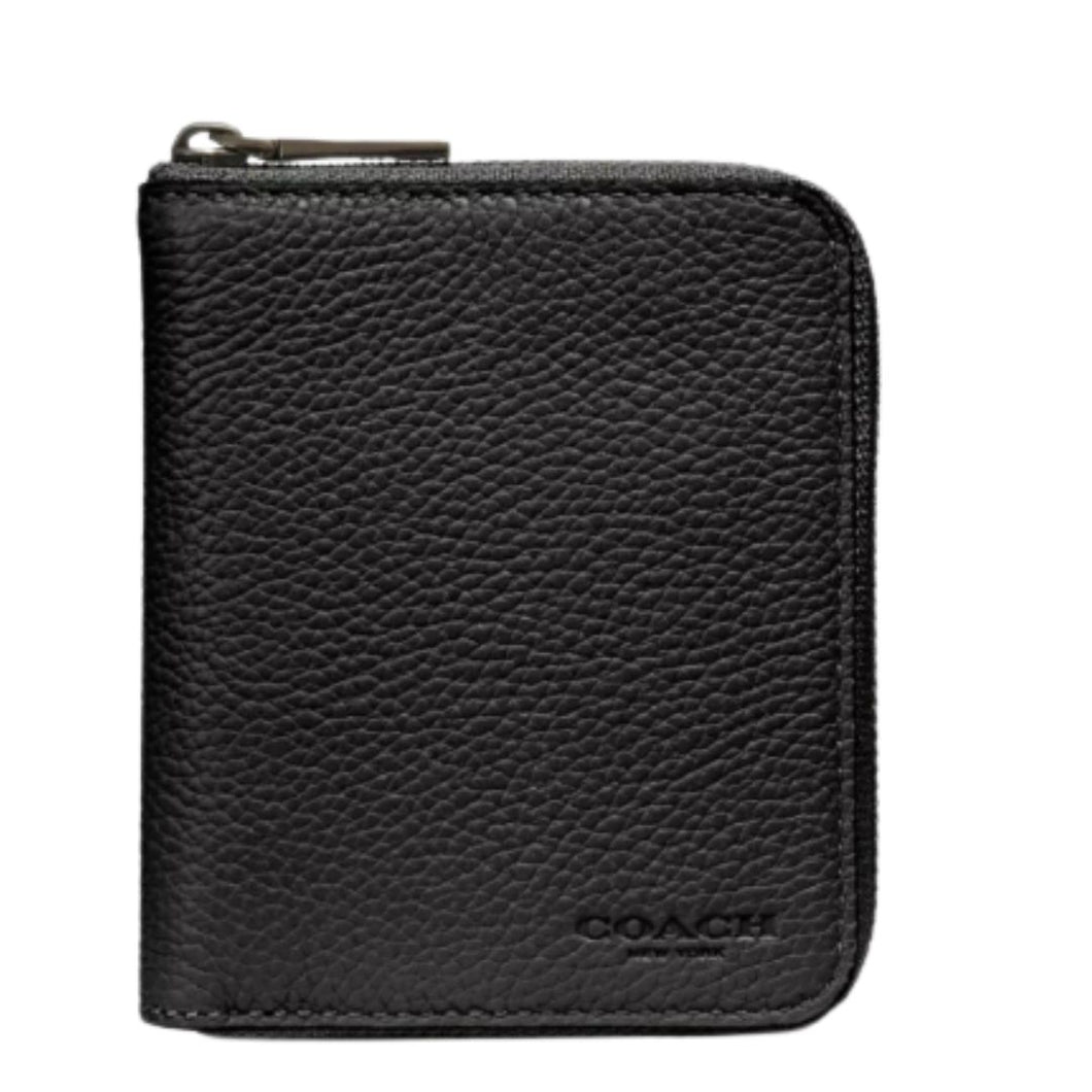 Coach Pebbled Leather Small Bifold Zip Around Black Men's Wallet #25412