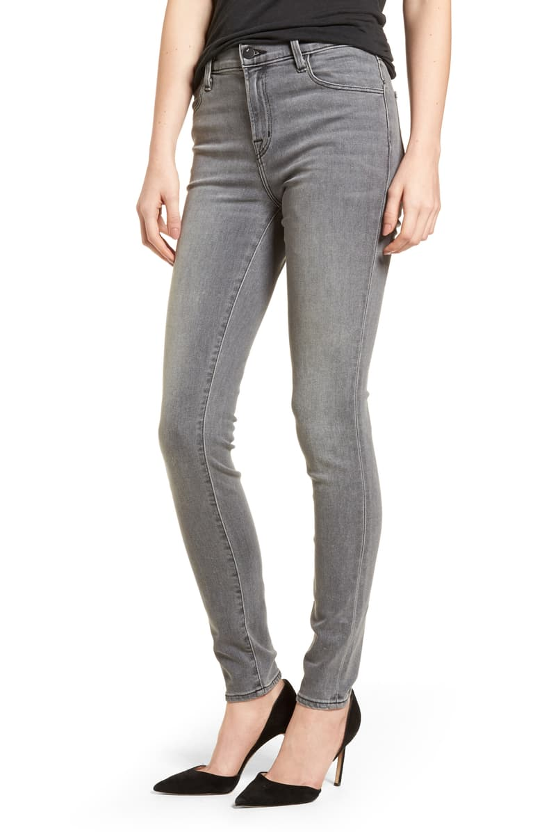 J Brand Women's Maria High Waist Super Skinny Gray Jeans, Pebble - Luxe Fashion Finds