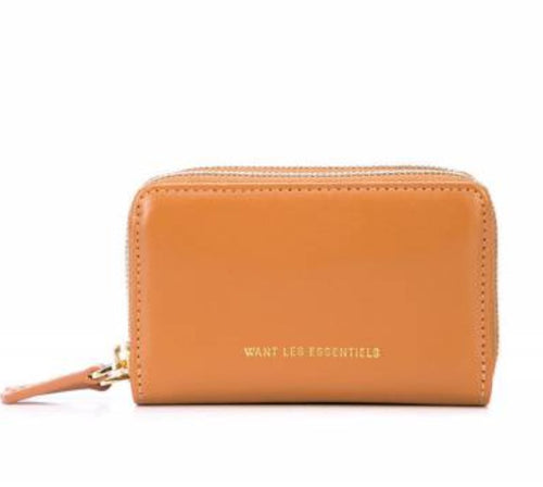 Want Les Essentiels Mini Petra Double Zip Leather XS Women's Wallet, Saddle