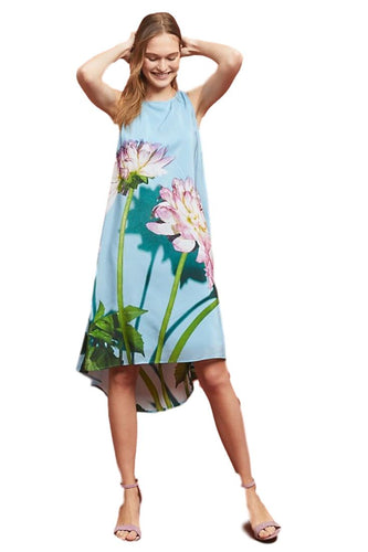 Anthropologie Women's Photorealistic Silk floral Blue Sleeveless A-Line Dress - 0