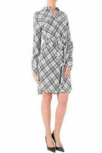 Equipment Women's Silk Plaid Long-Sleeved Belted Shirt Dress, Black/White - L