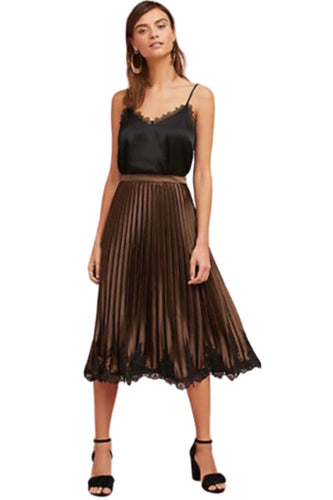 Anthropologie Women's Pleated A-Line Copper Satin Black Laced-Hem Midi Skirt M