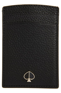Kate Spade Women's Polly Pebbled Leather Slim Black Cardholder Wallet - Luxe Fashion Finds