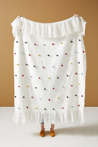 Anthropologie Pompom Oblong 50 x 60 White Fringed Wool Blend Throw Blanket - Luxe Fashion Finds