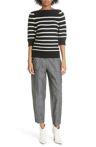 Rebecca Taylor La Vie Women's Puff Sleeve Stripe Cotton Wool Black Sweater, Small