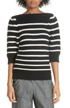 Load image into Gallery viewer, Rebecca Taylor La Vie Women's Puff Sleeve Stripe Cotton Wool Black Sweater, Small