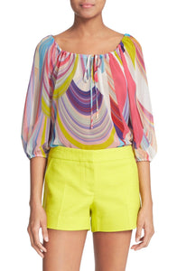 Trina Turk Women's Rainbow Scoop Neck  Georgette Pastel Peasant Blouse - S
