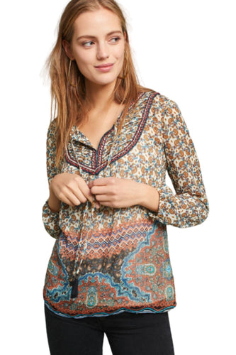 Anthropologie Women's Daniel Rainn Chiffon Paisley Boho Peasant Blouse Tunic - L - Luxe Fashion Finds