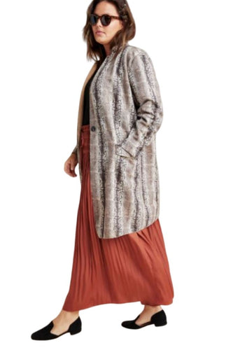 Anthropologie Women's BlankNYC Snake-Print Micro Suede Blazer Midi Coat - 2X - Luxe Fashion Finds