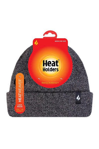 Heat Holders Men's Rib Knit Roll-Up Thermal Insulated Beanie Hat, Grey O/S