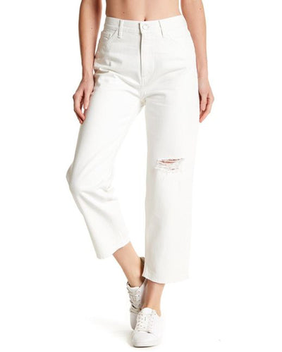 Mih Jeanne High-Rise Slim Boyfriend White Distressed Cropped Jeans - 27