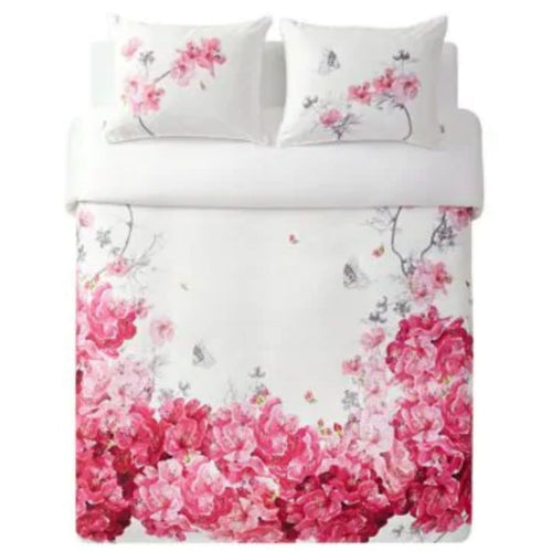 Ted Baker Babylon Pink Floral 3-Piece Duvet 92x96 Cotton Cover Set, Queen - Luxe Fashion Finds