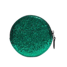 Load image into Gallery viewer, Coach Wizard of Oz Glitter Leather Round Coin Case Wallet, Emerald - 77965B  NIB - Luxe Fashion Finds