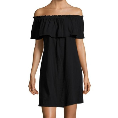 Current Elliott Women's Off Shoulder Ruffle Black Cotton Stretch Jersey Mini Dress - Luxe Fashion Finds