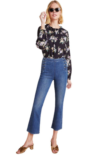 Mother Women's Sailor Tripper High Waist Crop Bootcut Flare Blue Jeans