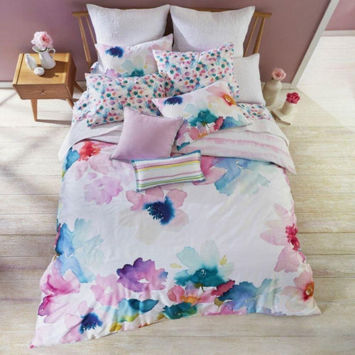 Bluebellgray Sanna Oversized Pastel Floral 3-Piece Cotton Duvet Cover Set, Queen