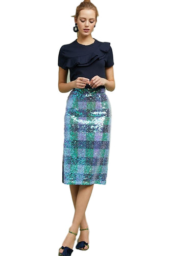 Anthropologie Women's Sequined Palette Blue Green Check Pencil Skirt