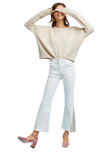 Anthropologie Women's Pilcro High-Rise Sequin Crop Flare White Denim Jeans. - Luxe Fashion Finds