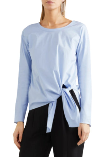 Theory Women's Serah Tie Front Stretch Cotton Long Sleeve Blue Shirt Blouse - Small