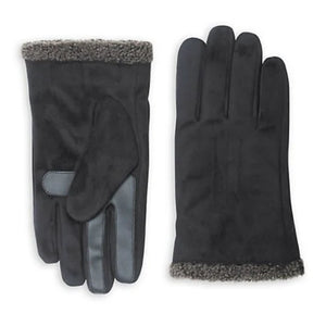Isotoner Men's SmarTouch Microsuede Faux Shearling Black Tech Winter Gloves