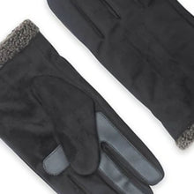 Load image into Gallery viewer, Isotoner Men's SmarTouch Microsuede Faux Shearling Black Tech Winter Gloves