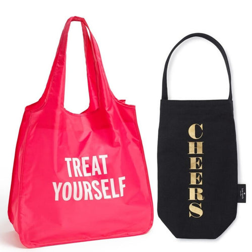 Kate Spade Treat Yourself Reusable Shopping Tote & Canvas Cheers Wine Bag - 2PC - Luxe Fashion Finds