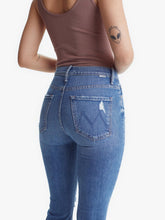 Load image into Gallery viewer, Mother Women's Weekender Fray Mid-Rise Bootcut Flare Jeans, Six Packs on Me