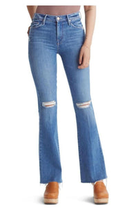 Mother Women's Weekender Fray Mid-Rise Bootcut Flare Jeans, Six Packs on Me