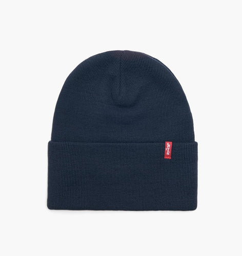 Levis Men's Slouchy Stretch Rib Knit Logo Cuffed Beanie Hat, Blue/Gray OS