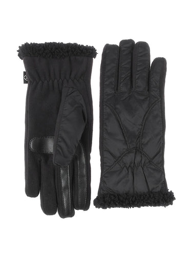 Isotoner Women's SmarTouch Thermflex-Lined  Soft Nylon Black Gloves – S/M