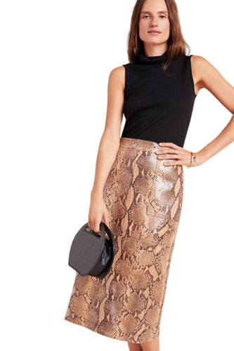 Anthropologie Orly Snake-Print Vegan Leather Knee Length Pencil Skirt - Luxe Fashion Finds