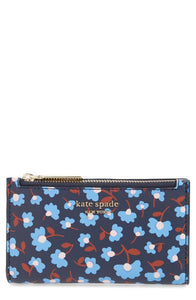 Kate Spade Women's Spencer Party Floral Small Slim Bifold Blue ID Wallet - Luxe Fashion Finds
