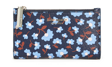 Load image into Gallery viewer, Kate Spade Women's Spencer Party Floral Small Slim Bifold Blue ID Wallet - Luxe Fashion Finds