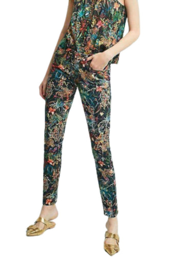 Anthropologie Women's Pilcro Black Floral Mid-Rise Skinny Ankle Crop Jeans - 25