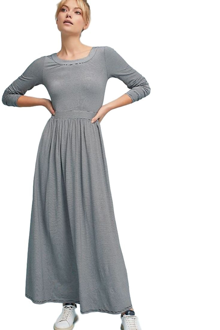 Anthropologie Women's  Striped Stretch Jersey Back Cutout Gray Maxi Dress – XL - Luxe Fashion Finds