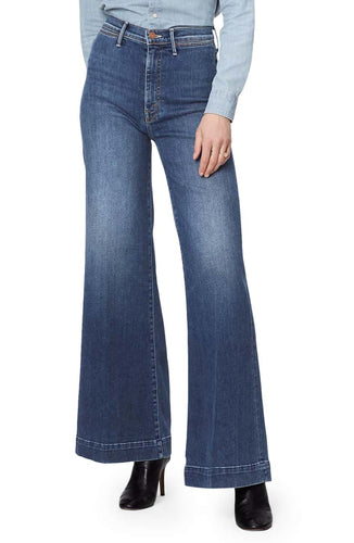 Mother Women's Swooner Roller High Waist Wide Leg Blue Jeans, Big Sky - Luxe Fashion Finds