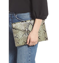 Load image into Gallery viewer, Rebecca Minkoff Women's Leo Snakeskin Print Leather Slim Clutch, Thyme