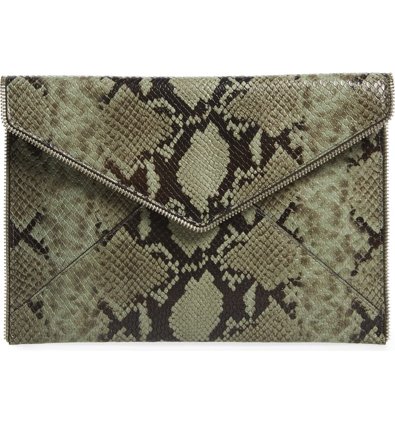 Rebecca Minkoff Women's Leo Snakeskin Print Leather Slim Clutch, Thyme