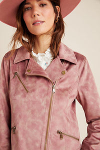 Anthropologie Women's Faux Suede Leather Tie-Dye Pink Moto Crop Jacket