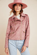 Load image into Gallery viewer, Anthropologie Women's Faux Suede Leather Tie-Dye Pink Moto Crop Jacket