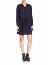 Load image into Gallery viewer, Rebecca Taylor Silk Tie-Waist Long Sleeve Tiered Hem Shirt Dress – Navy Blue - Luxe Fashion Finds