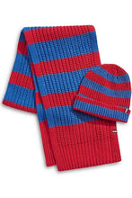 Load image into Gallery viewer, Tommy Hilfiger Men's 2-Piece Striped Rugby Knit Scarf & Beanie Set, Red/Blue