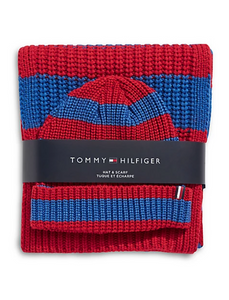 Tommy Hilfiger Men's 2-Piece Striped Rugby Knit Scarf & Beanie Set, Red/Blue