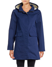 Load image into Gallery viewer, Kate Spade Women's Hooded Trench Coat Jacket, Zip/Snap Drawstring w Bow, Blue - Luxe Fashion Finds