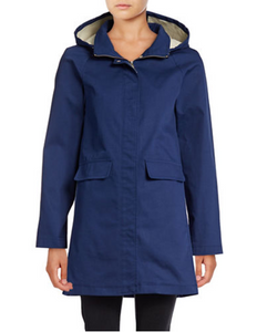 Kate Spade Women's Hooded Trench Coat Jacket, Zip/Snap Drawstring w Bow, Blue - Luxe Fashion Finds